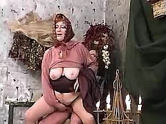 Granny gets jizz on tits after fuck