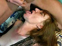 Two aged whores suck cocks in orgy