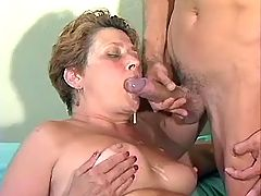 Cum drops on fat mature's breasts