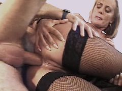 Blond hot mature fucks and gets cum