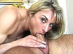 Hard dick gobbled by horny mature