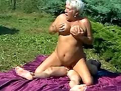 Fat horny granny rides young dick