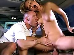 Drunk sexy milf get cumshot in car
