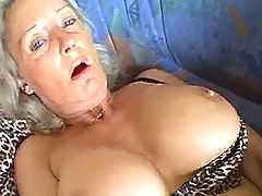 Granny fucks herself hard w dildo