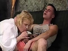 Aged mom gives blowjob to young guy