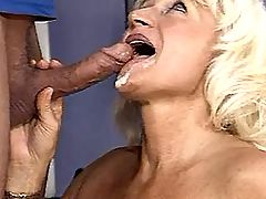 Blonde mature has sex with trainer
