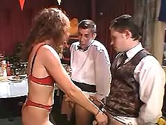 Mature whore seduces horny waiters