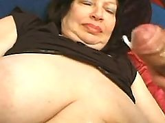 Guys jizzing on big tits of mature