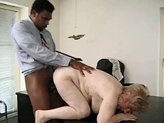 Granny fucks w blacky n gets facial