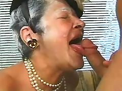 Granny masturbating and fucking