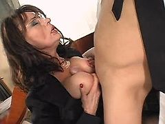 Mom gets titsfuck and jumps on dick