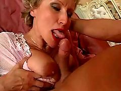 Blonde mature sucks cock and fucks