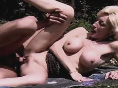 Mature sucks cock and fucks outdoor