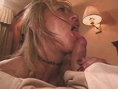 Hot milf sucks cock in hotel suite